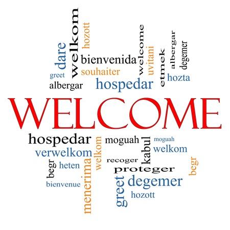 bienvenida: Bienvenido Concepto nube de la palabra con los saludos de bienvenida en diferentes idiomas como hozta, welkom, begr, bienvenida y m�s