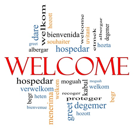 Welcome Word Cloud Concept with Welcome greetings in different languages such as hozta, welkom, begr, bienvenida and more  photo