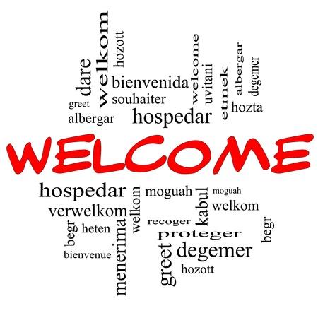 bienvenidos: Bienvenido Concepto nube de la palabra en letras de color rojo y negro con un saludo de bienvenida en diferentes idiomas como hozta, welkom, begr, bienvenida y m�s