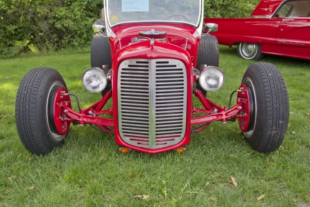 COMBINED LOCKS, WI - AUGUST 18: The front view of a red 1927 Ford Roadster classic car at the 2nd Annual Horizon of Hope Generations Car and Truck Show on August 18, 2012 in Combined Locks, Wisconsin.