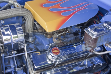 COMBINED LOCKS, WI - AUGUST 18:  The engine of a blue 1947 Chevy two door Coupe classic car at the 2nd Annual Horizon of Hope Generations Car and Truck Show on August 18, 2012 in Combined Locks, Wisconsin.