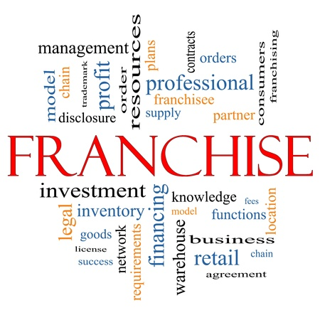 Franchise Word Cloud Concept with great terms such as agreement, model, network, professional, partner, chain, management and more