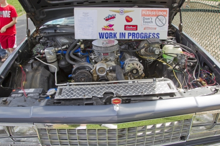 COMBINED LOCKS, WI - AUGUST 18: Engine of a bluish 1983 Chevy El Camino classic car at the 2nd Annual Horizon of Hope Generations Car and Truck Show on August 18, 2012 in Combined Locks, Wisconsin.