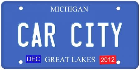 Een imitatie Michigan kenteken van december 2012 stickers en Car City geschreven op het maken van een grote Detroit of Michigan auto concept. Woorden op de bodem Grote Meren.