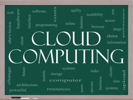Cloud Computing Word Cloud Concept on a Blackboard with great terms such as data, information, storage, sync, access, servers and more Stock Photo - 14947278