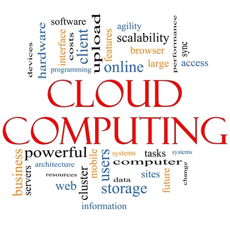 Cloud Computing Word Cloud Concept on a Blackboard with great terms such as devices, data, information, storage, sync, access, servers and more Stock Photo - 14947274