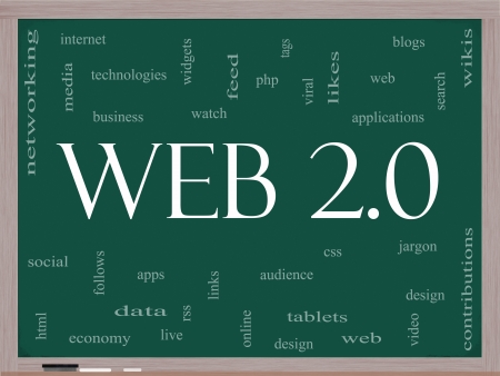 web 2 0: Web 2.0 Word Cloud Concept on a Blackboard with great terms such as blogs, tablets, web, feed, viral, likes, wikis, tags and more Stock Photo