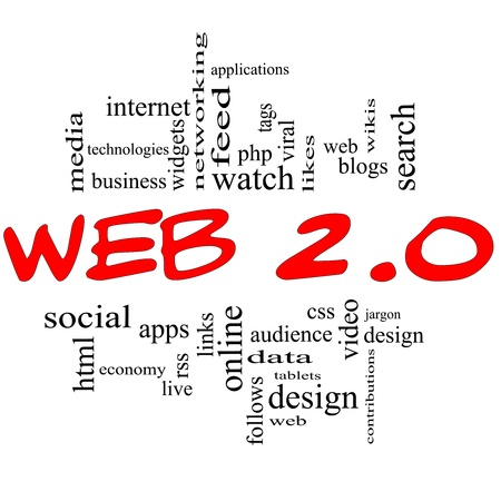 web 2 0: Web 2.0 Word Cloud Concept in red and black letters with great terms such as social, media, blogs, tablets, web, feed, viral, likes, wikis, tags and more