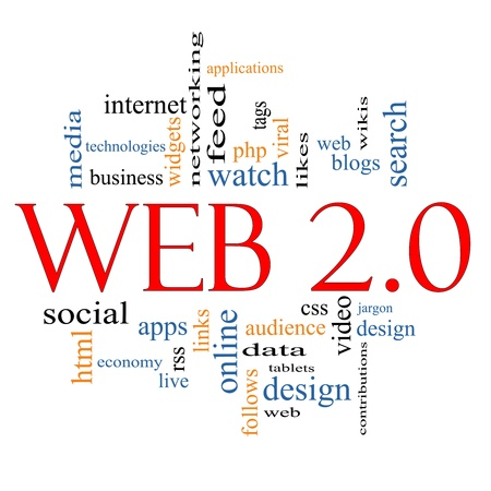 Web 2.0 Word Cloud Concept with great terms such as social, media, blogs, tablets, web, feed, viral, likes, wikis, tags and more photo