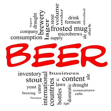 botella de licor: Palabra Nube Concepto de cerveza en letras rojas y negro con términos de calidad, como la levadura, taza de helado, cerveza, cerveza, alcohol, beber cerveza negra, y más.