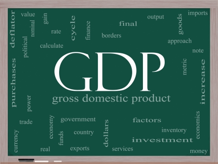 GDP Word Cloud Concept on a Blackboard with great terms such as gross domestic product, economics, output, metric and more. Stock Photo - 14947297