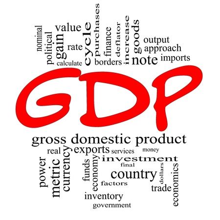 GDP Word Cloud Concept in red and black letters with great terms such as gross domestic product, economics, rate, note, output, metric and more. Stock Photo - 14947285