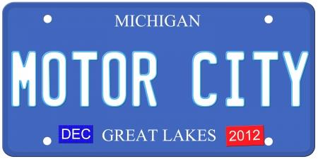 Een imitatie Michigan kenteken van december 2012 stickers en Motor City op geschreven het maken van een grote Detroit of Michigan auto concept. Woorden op de bodem Grote Meren.