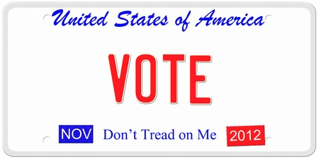 An imitation United States of America license plate with November 2012 stickers and Vote written on it making a great politics or election concept.  Words on the bottom Don't Tread on Me. Stock Photo - 14947298