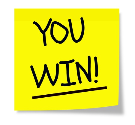 You Win! wrritten on a yellow sticky note making a great concept image. Stock Photo - 14947279