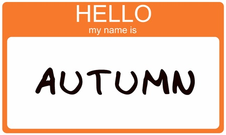 name tags: Hello My Name is Autumn name tag sticker in orange seasonal color.