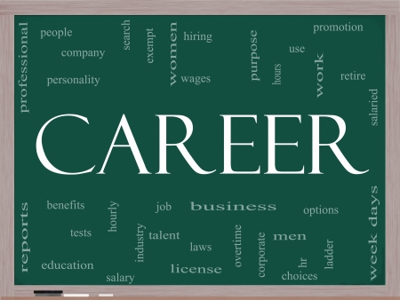Career Word Cloud Concept on a Blackboard with great terms such as promotion, work, retire, salaried, hr, ladder, corporate and more. photo