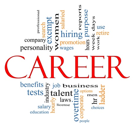 Career Word Cloud Concept with great terms such as wages, promotion, work, retire, salaried, hr, ladder, corporate and more.