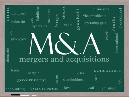 mergers: M & A (Mergers and Acquisitions) Word Cloud Concept on a Blackboard with great terms such as deals, ebitda, ceo, shareholders and more. Stock Photo