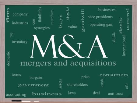 M & A (Mergers and Acquisitions) Word Cloud Konzept auf einer Tafel mit großen Begriffen wie Angebote, ebitda, ceo, Aktionäre und mehr. Standard-Bild