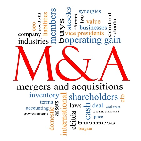 M & A (Mergers and Acquisitions) Word Cloud Konzept mit großem Begriffe wie Angebote, Aktien, ebitda, ceo, Aktionäre und mehr. Standard-Bild