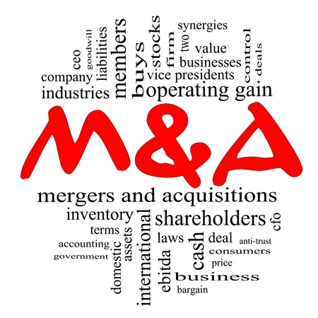 mergers: M & A (Mergers and Acquisitions) Word Cloud Concept in Red and Black letters with great terms such as deals, ebitda, ceo, shareholders, stock and more.