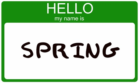 Hello My Name is Spring name tag sticker in green seasonal color. photo