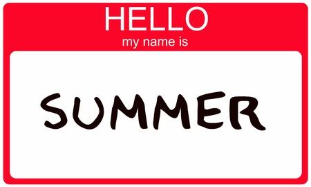 Hello Mijn Naam is Summer naamplaatje sticker in het rood seizoen kleur.