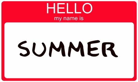 Hello My Name is Summer name tag sticker in red seasonal color. photo