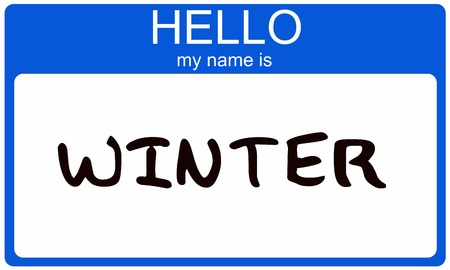 Hello My Name is Winter name tag sticker in blue seasonal color. Stock Photo - 14947303