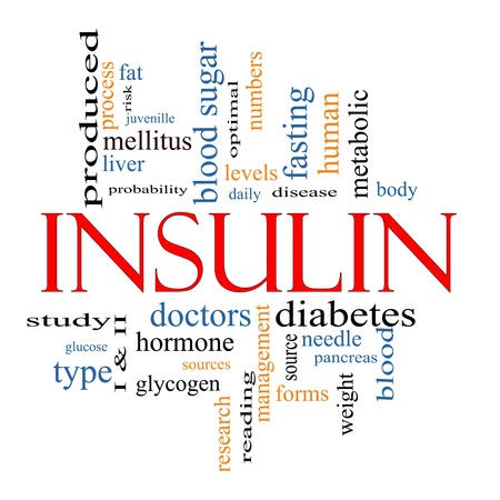 levels: Insulin Word Cloud Concept with great terms such as sugar, needles, diabetes, risk, blood, weight, pancreas, source and more. Stock Photo