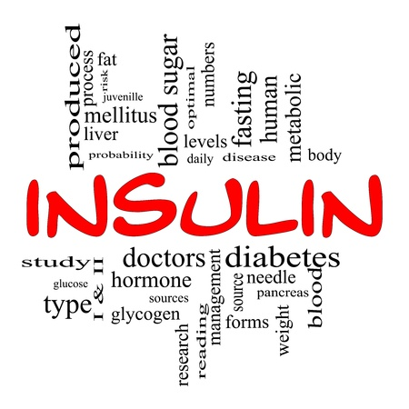 Insulin Word Cloud Concept in Red and Black letters with great terms such as sugar, needles, diabetes, risk, blood, weight, pancreas, source and more. photo