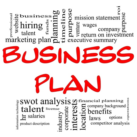 summary: Business Plan Word Cloud Concept in red letters with great terms in black such executive summary, mission statement, benefits, planning and and more.