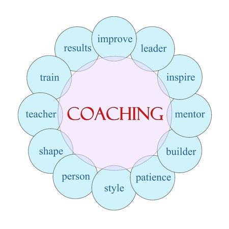 paciencia: Diagrama de coaching concepto circular en rosa y azul con los t�rminos de la talla de mejorar, l�der, inspirar, mentor, resultados y m�s. Foto de archivo
