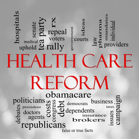 care providers: Health Care Reform Word Cloud Concept in with a Bokeh background with great terms such as healthcare, politics, courts, insurance, costs, business, repeal and more Stock Photo