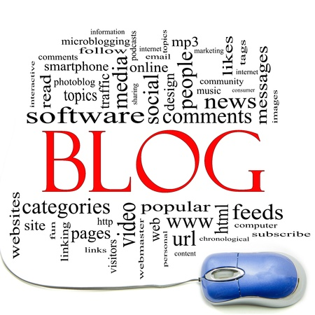 keywords link: Blog word cloud concept with a computer mouse and great terms such as internet, help, follow, www, email, computer and more. Stock Photo