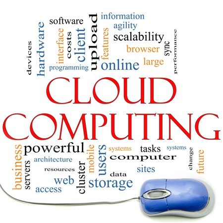 Cloud Comuting word cloud concept with a computer mouse and great terms such as servers, browser, storage, upload, online, future, sync and more. photo