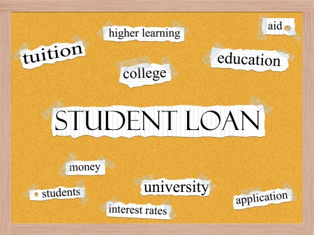 higher education: A Student loan word cloud concept wtih words on notebook paper taped on a corkboard and great terms such as aid, education, tuiton, college, and more.