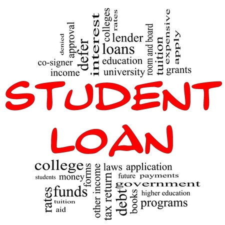 Student Loan Word Cloud Concept in red and black letters with great terms such as students, education, tuition, grants, application, college, loans and more. photo