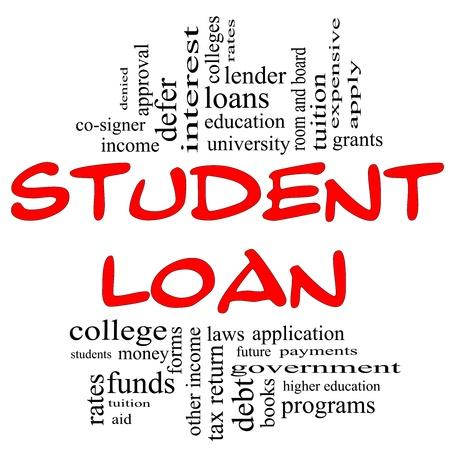 Student Loan Word Cloud Concept in rood en zwarte letters met grote termen zoals studenten, onderwijs, onderwijs, subsidies, de toepassing, universiteit, leningen en nog veel meer. Stockfoto