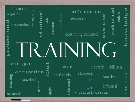 vocational: Training Word Cloud Concept on a Blackboard with great terms such as classroom, education, vocational, knowledge, required, test and more.