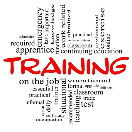 Training Word Cloud Concept in red and black letters with great terms such as teaching, classroom, education, vocational, knowledge, required, test and more.