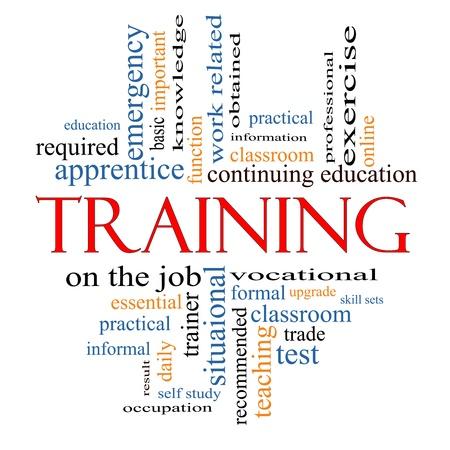 training: Opleiding Word Cloud Concept met grote termen als klaslokaal, onderwijs, handel, beroeps-, kennis, vereiste, test en nog veel meer. Stockfoto