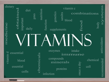 functions: Vitamins Word Cloud Concept on a Blackboard with great terms such as intake, dietary, nutrition, units, antioxidants, enzymes and more. Stock Photo