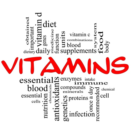 Vitamins Word Cloud Concept in red and black letters with great terms such as intake, system, dietary, nutrition, units, antioxidants, enzymes and more. Stock Photo