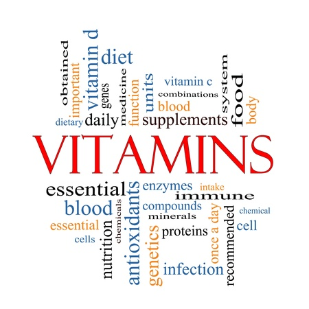 Vitamins Word Cloud Concept with great terms such as intake, immune, dietary, nutrition, units, antioxidants, enzymes and more. Stock Photo
