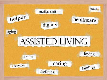 healthcare facilities: Assisted Living word cloud concept with words on notebook paper taped on a corkboard and great terms such as dignity, caring, healthcare, facilities and more. Stock Photo