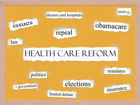 Healthcare Reform word cloud concept with words on notebook paper taped on a corkboard and great terms such as obamacare, mandates, insurance, taxes, politics and more. photo