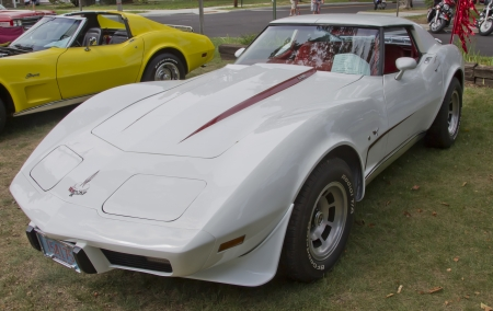 WAUPACA, WI - AUGUST 25: Side view of a White 1977 Corvette car at the 10th Annual Waupaca Rod & Classic Car Club Car Show on August 25, 2012 in Waupaca, Wisconsin. Stock Photo - 14985854
