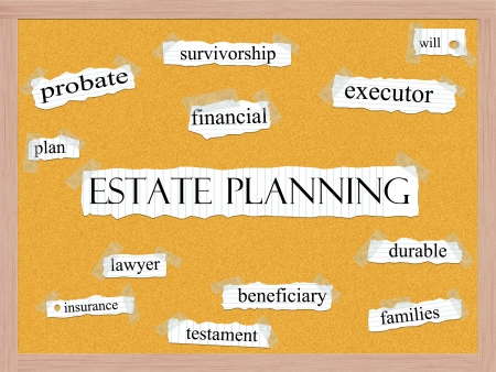 An Estate Planning word cloud concept with words on notebook paper taped on a corkboard and great terms such as beneficiary, survivorship, executor, insurance, and more. Stock Photo